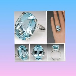 925 Silver Large Oval Cut Aquamarine Ring